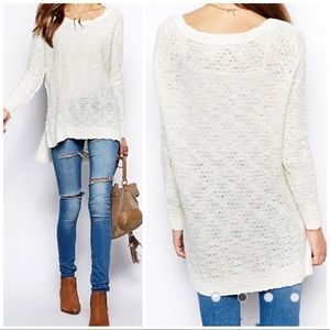 Free People Honeycomb Jeepster Pullover Sweater, L